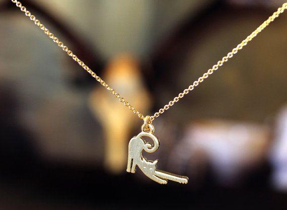 Chaud Nouvelle mode avec un chat paresseux Pendentif collier plaqué or placage d'argent rose gold bijoux cadeaux pour femmes