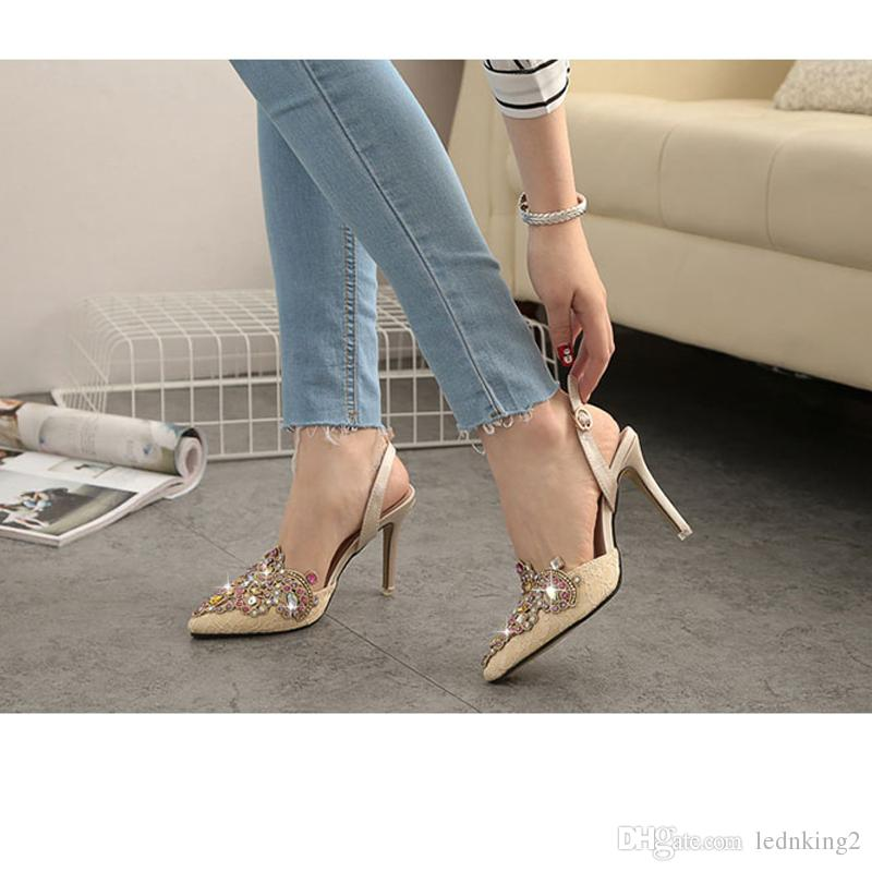 2016 Summer Style Women Pumps Sexy Pointed Toe High Heels Dress Wedding Shoes Woman Sandals Crystal Ankle Boots Women Botas Sell