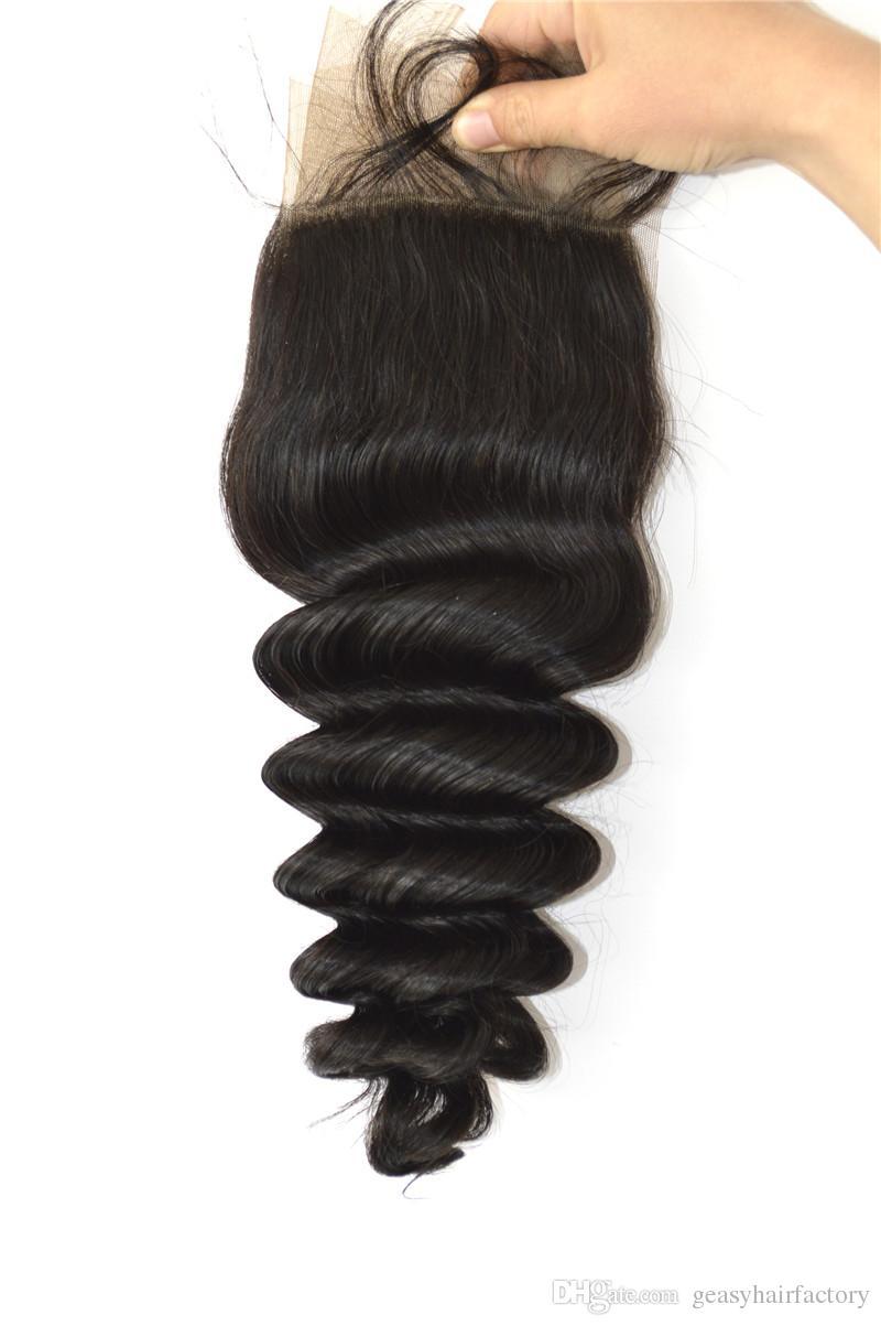 Virgin Loose Wave Silk Base Lace Frontal Closure With Baby Hair Malaysian Human Hair Closure Free Part
