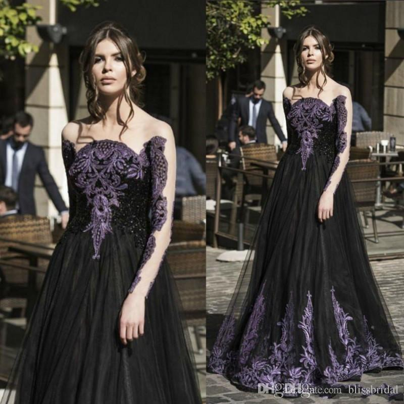 Gothic Black Spring Prom Dresses Sale Long Sleeves Purple Crystal Beads A  Line Tulle Long Formal Evening Party Dress For Ladies Cheap Prom Dresses Uk  Cheap ... 9c72b49f3d0e