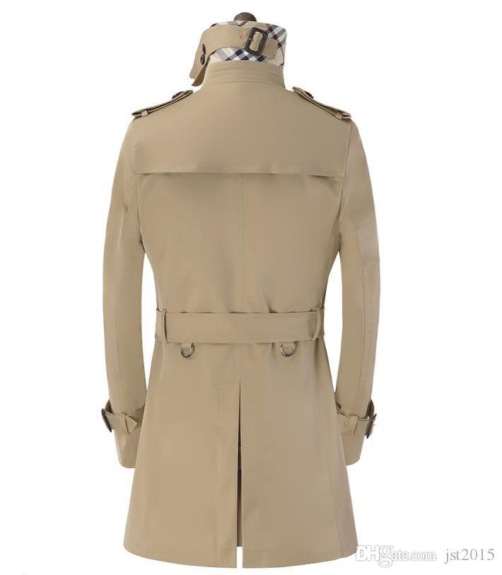 Khaki preto bege preto double breasted mens trench coats homem casaco longo homens roupas slim fit algodão sobretudo homens plus