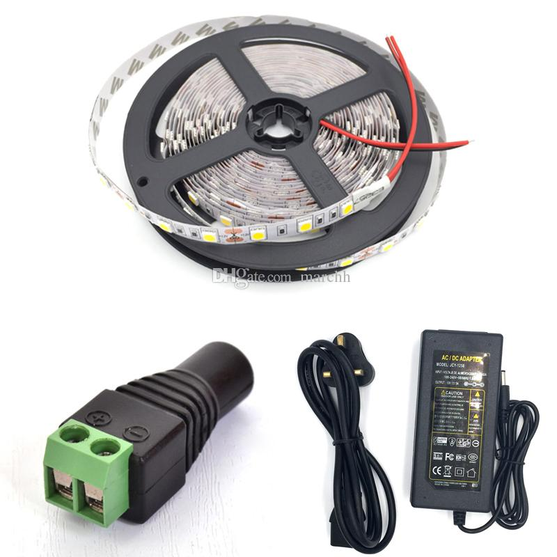 50M non-waterproof SMD5050 LED Strip Light DC 12V 60 Leds/M + DC Connector +12V 5A Power Supply Adapter DHL Free