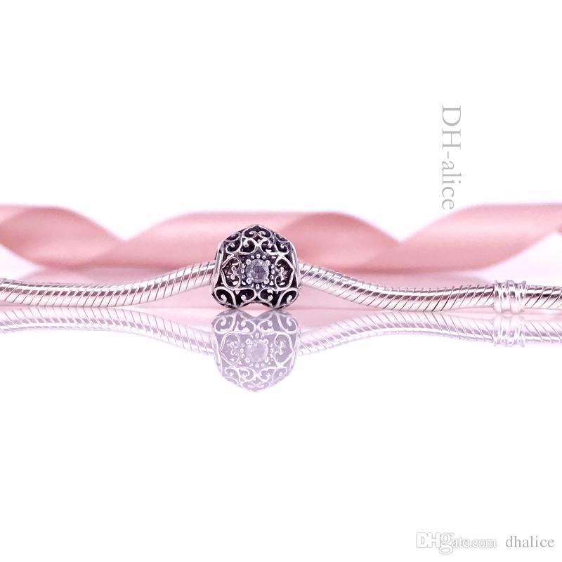 WholesaleS925 Sterling Silber April Unterschrift Herz Charm Perle mit Bergkristall passt europäischen Pandora Schmuck Armbänder Halsketten 791784RC