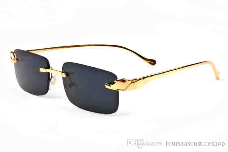 2020 النظارات الشمسية أزياء للرجال بدون شفة النظارات قرن الجاموس الذهب الفضة نمر العقلي جودة عالية إطار النظارات الشمسية هلالية gafas دي سول