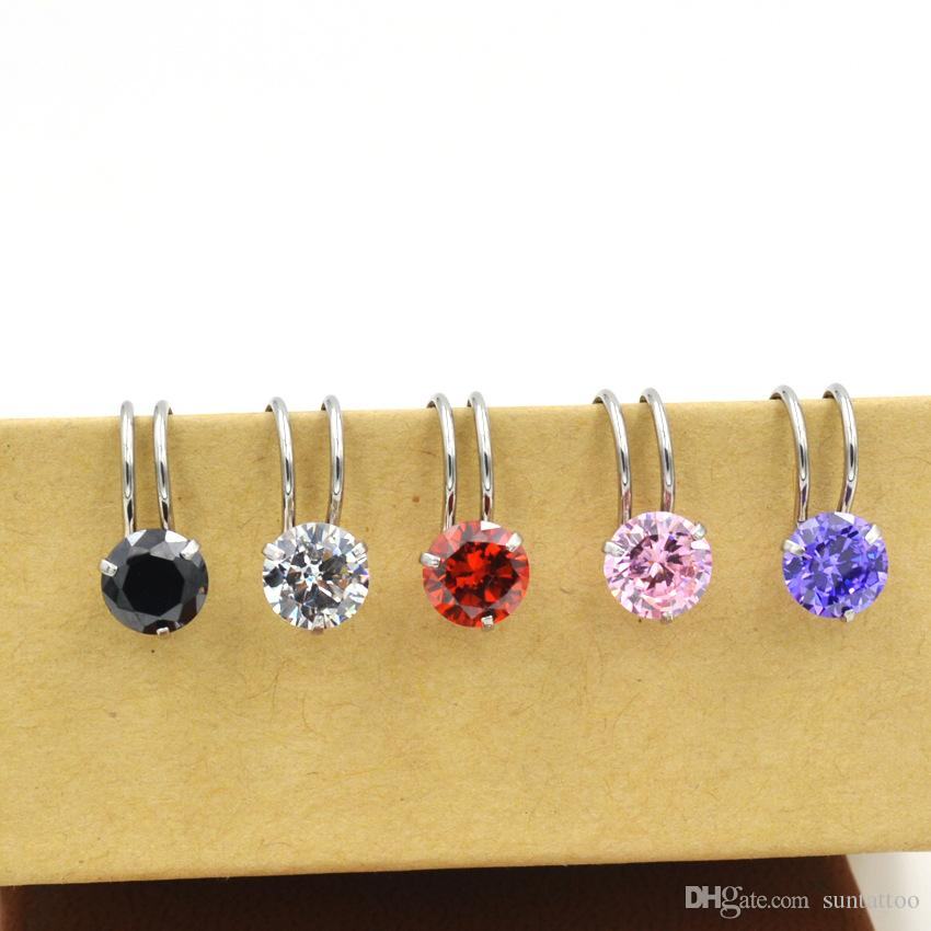 Zircon Ear Clip Cuff Wrap Earrings Color Crystal Fake Nose No piercing Clip on Women Men Party Jewelry