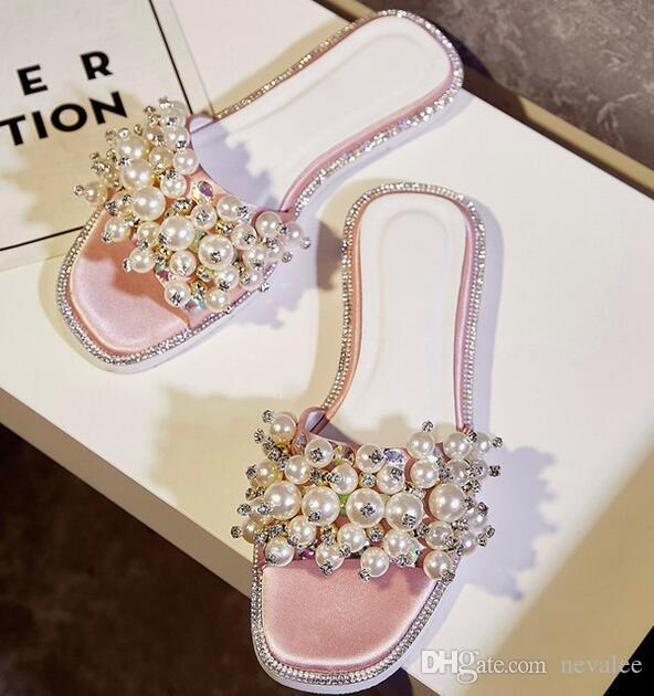 38878a7af Pearls Slides 2017 Women Summer Stain Flat Shoes Plus Size Ladies Elegant  Beading Crystal Slides Shiny Rhinestone Sandals Ladies Footwear Fashion  Shoes From ...