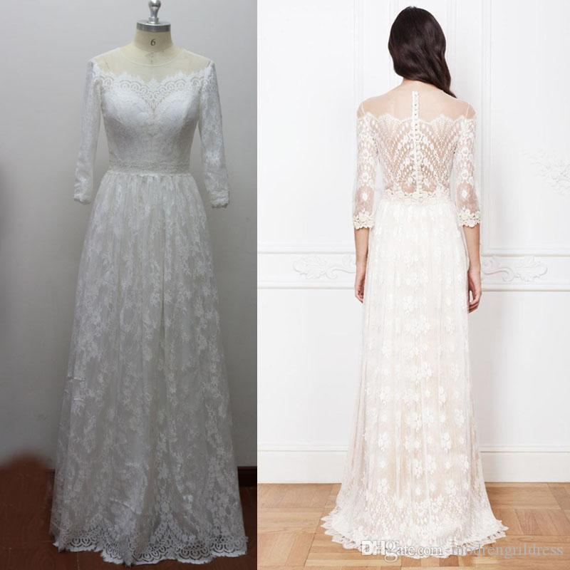 Non Traditional Wedding Dress Boho: Real Picture Bateau Neck Boho Bridal Gowns 3/4 Long Sleeve