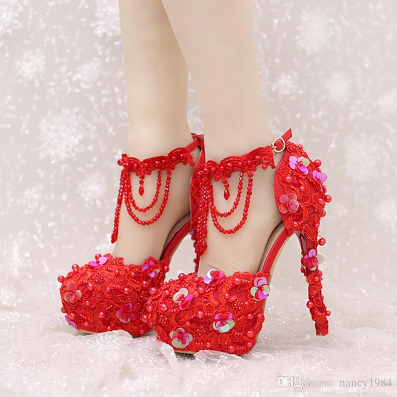 9e9b32b0269d New Design Ankle Strap Heels White And Red Lace Bridal Dress Shoes  Beautiful Beading Straps Wedding Shoes Women Party Prom Pumps Flower Girl  Wedding Shoes ...