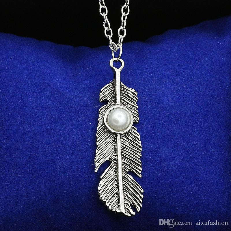 Boho Tarzı Antik Altın Gümüş Kadın Püskül Kolye Tüy Turkuaz Kolye Kolye Vintage Multielement Bildirimi Takı