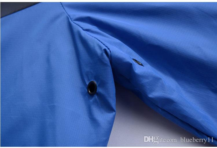 nueva moda azul de manga larga chaqueta de los hombres Otoño deportes al aire libre windrunner con cremallera windcheater hombres ropa más tamaño