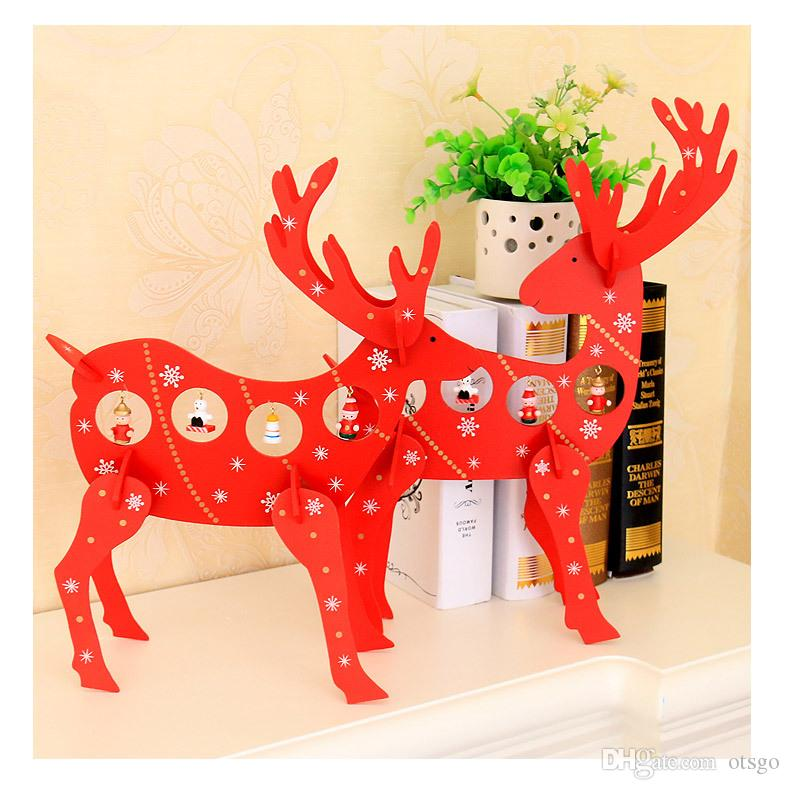 red color wooden christmas deer elk christmas shopping center hotel scene decorative decoration house party ornament discount christmas outdoor decorations - Outdoor Wooden Reindeer Christmas Decorations