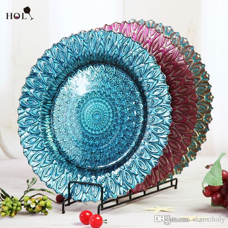 Wholesale cheap elegant wedding and events decorative color glass wholesale cheap elegant wedding and events decorative color glass charger plates glass plate decoration glass plate hotel decoration plate online with junglespirit Image collections