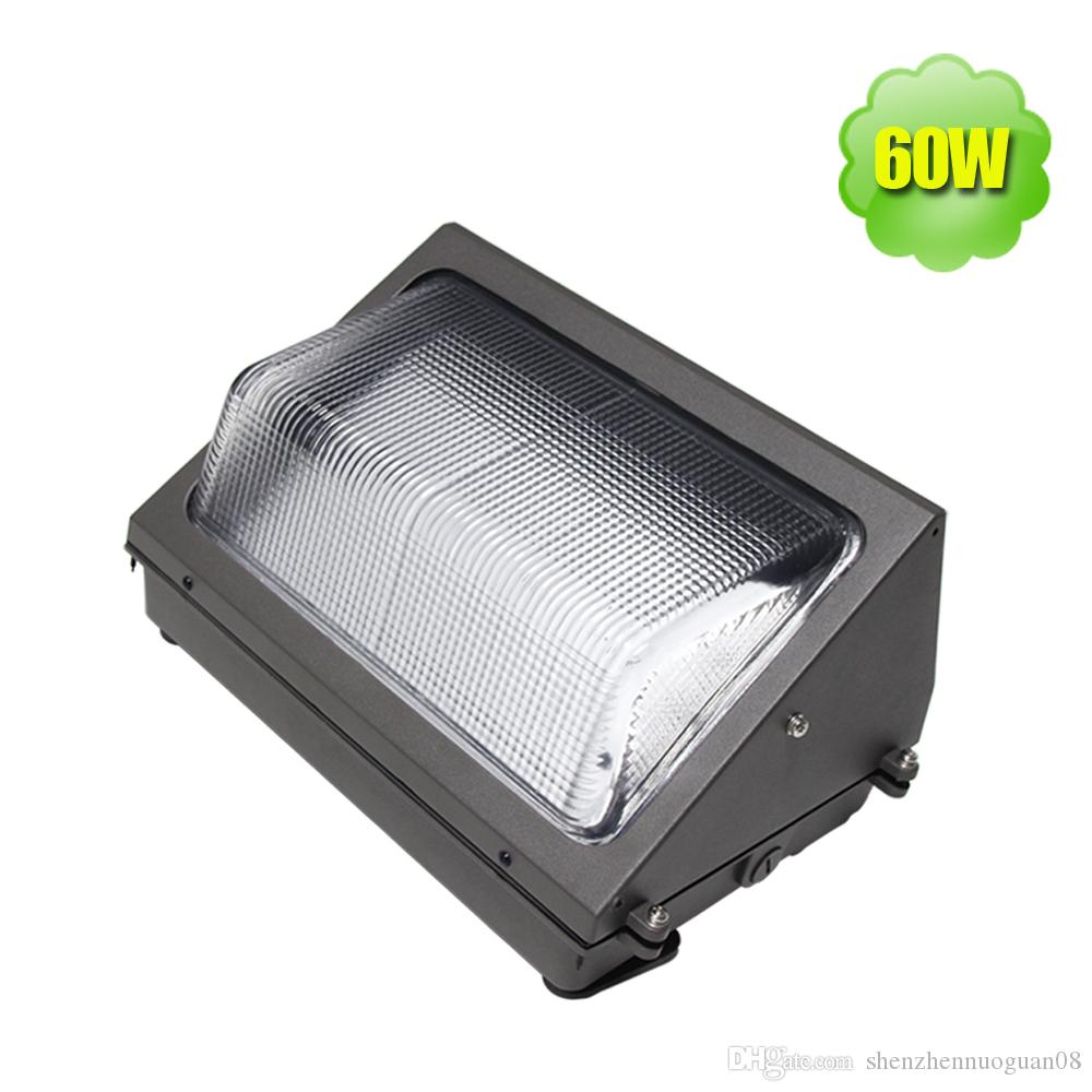 60w Led Outdoor Wall Pack 120v 277v 4000k Mounted Area Luminaires Ip65 Exterior Building Light Warehouse Gym Garage Retrofit Portable Floodlight
