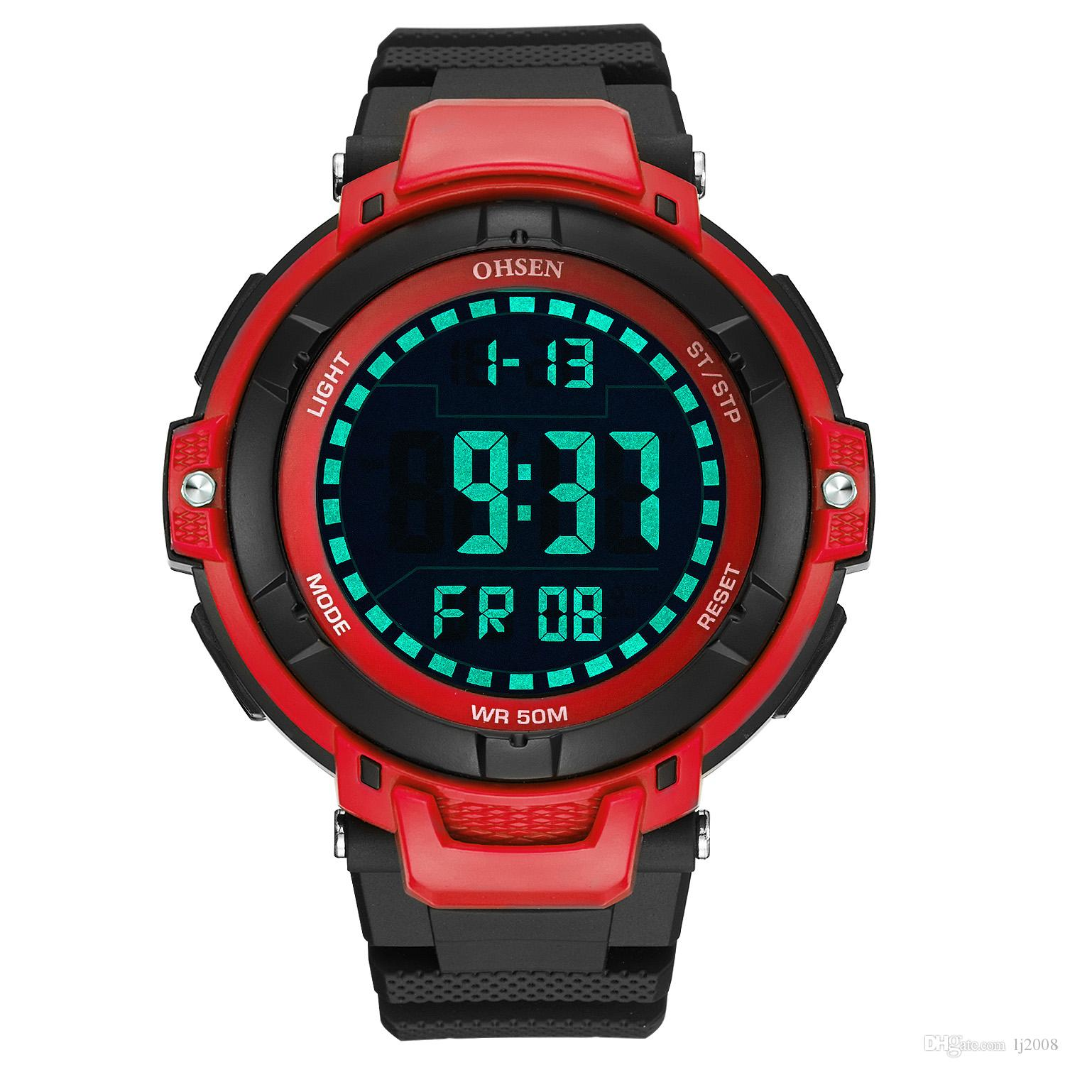 0457fe1b71f Fashion Brand OHSEN Digital Watch Men Relogios Running Sport Watch Men  Rubber Band LED Water Resistant Electronic Wrsit Watches