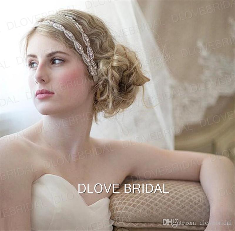 Elegant Hairband Rhinestone Bridal Wedding Headbands Two Row Crystal Ribbon Tie Backs Prom Party Hair Accessory Real Photo