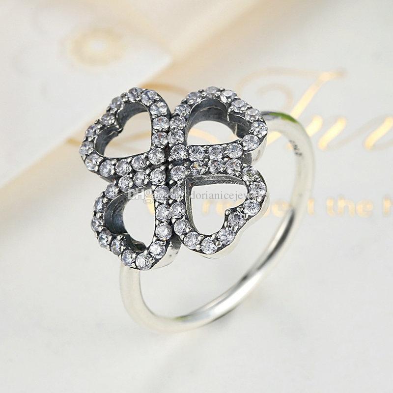 Petali d'amore Autentici anelli in argento sterling 925 in quattro petali a forma di cuore con anelli CZ eleganti e trasparenti donne R079