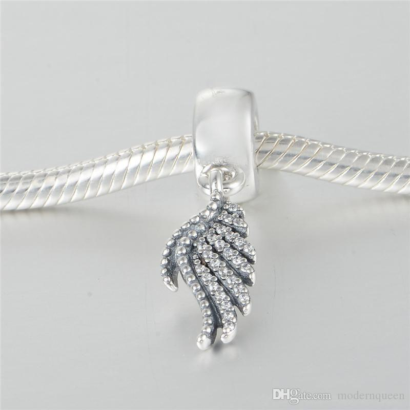 feather beads charms authentic S925 silver jewelery fits for pandora autumn style bangle bracelet and necklace aleLW613