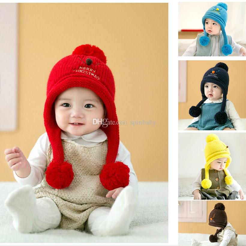 8aba6b2fb Winter Warm Korean Version Cute Baby Hat Christmas deer Newborn Colorful  Baby Winter Hats Hedging Caps 10pcs free shipping