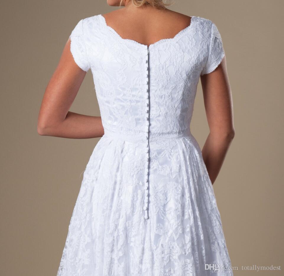 빈티지 상아 화이트 레이스 겸손 웨딩 드레스 모자 소매 A-Line 사원 신부 가운 비공식 웨딩 가운 사용자 정의
