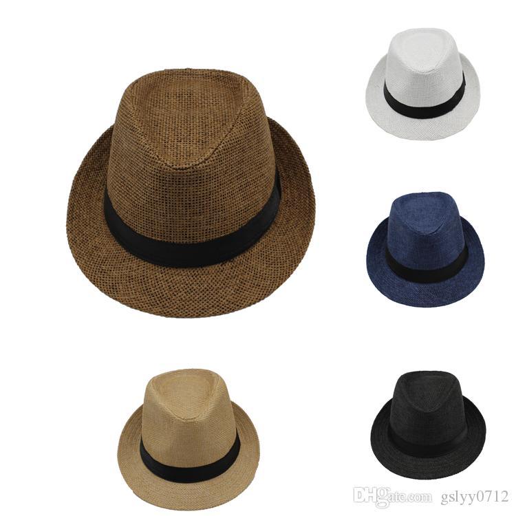 e6093945b8788 New Men Women Straw Hats Jazz Caps Belt Summer Beach Sun Hats Fedora ...