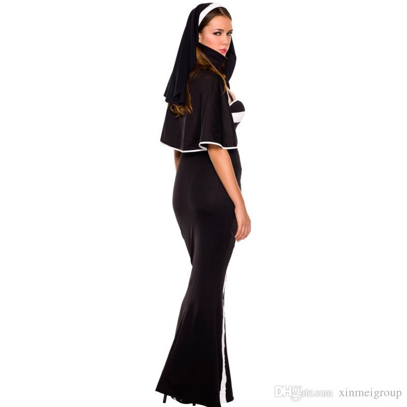 High Quality Sexy Women Crazy Arabia Nun Halloween Cosplay Costumes Black Erotic Deluxe Nun Costume Adult Fancy Dress W205029