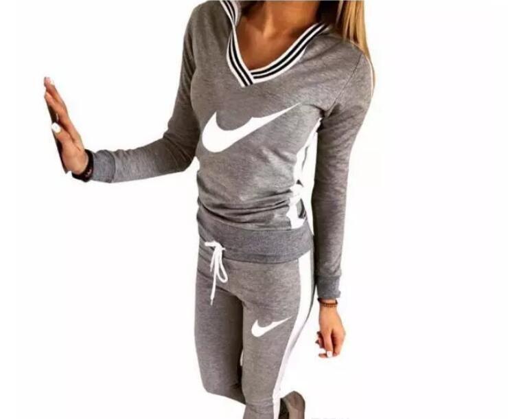 2018 neue Trainingsanzug Frauen Sport Anzug Hoodie Sweatshirt + Hose Jogging Femme Marque Survêtement Sportswear Set # 9076