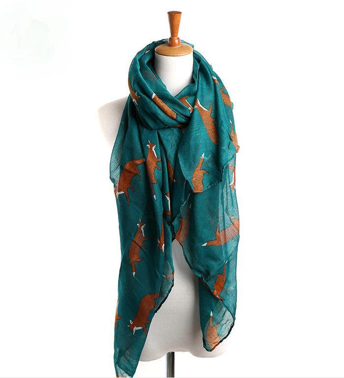 2018 Новая мода Fox Бесконечность шарф Loop Animal Print Ring шарфов Малый Fox Шали в бежевый серый Loop шарф Fox в Тан Платки