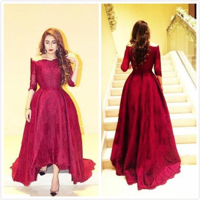 Myriam 요금 레드 아랍어 드레스 2019 새로운 현대 레이스 높은 낮은 파티 파티 드레스 하프 슬리브 볼 가운 사용자 정의 공식적인 저녁 드레스를 만들었