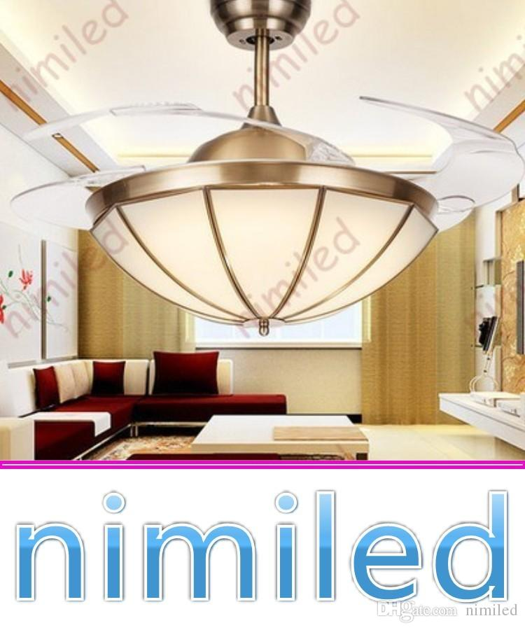 2018 Nimi942 Modern Copper Invisible Fan Light Led 42 Inch Pendant Lights Restaurant European Style Living Room Ceiling Lighting Lamps Chandelier From