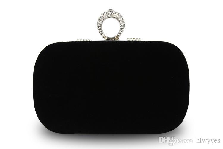 Top venta moda mujer diamante en forma de u anillo de diamantes de terciopelo bolsa de noche de lujo dedo embrague monedero del banquete de boda bolsa con cadena