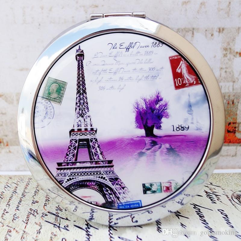 Western Style Eiffel Tower Mirror Hand Fold Glass Compact Makeup Magic Cosmetic Dhl Free Oval Vanity Mirrors From