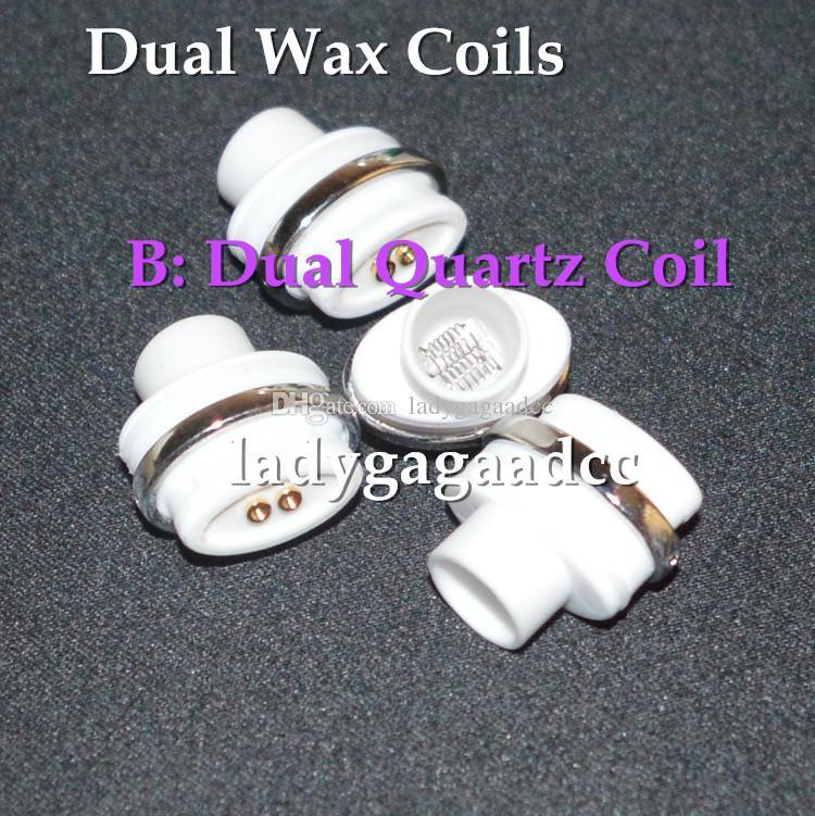 Dual ceramic quartz wax coils for micro dry herb g Vaporizer herbal vaporizers pen Wax dry herb atomizer e cigarette herber vapor cigarettes