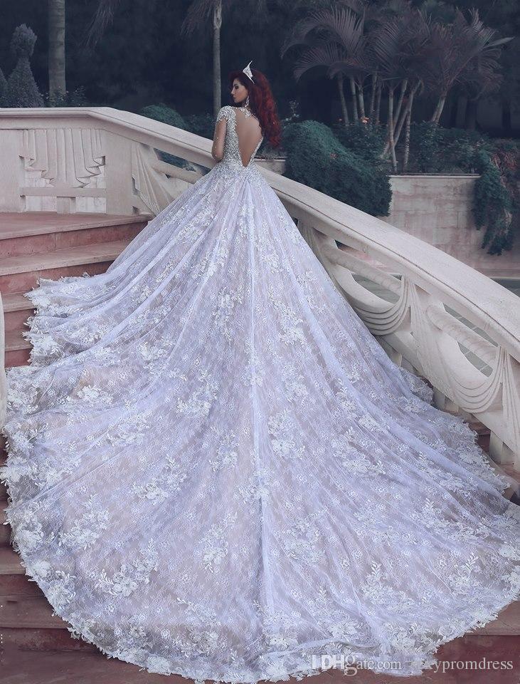 Cristais de luxo frisado vestidos de casamento do laço 2017 ilusão manga comprida sem encosto a linha de vestidos de noiva custom made vestidos de noiva capela trem
