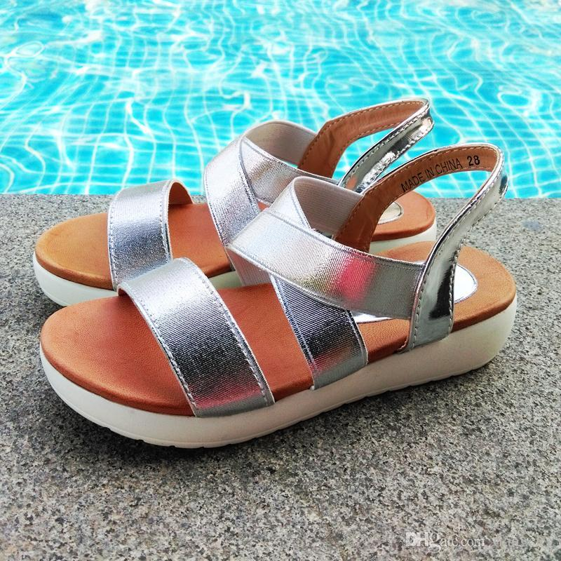 74890443507a Ankle Wrap Kids Sandals Girls Flat Shoes with Shinning Elastic Brush PU  Leather Insole PU Outsole Silver Gold Black Ankle Wrap Kids Sandals  Shinning Elastic ...