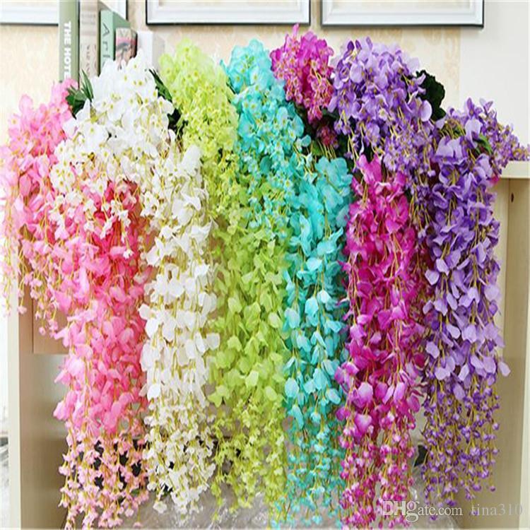 Blumen-Rebe / Wisteria-Hochzeits-Dekor 110cm 75cm 6 Farben Künstliche dekorative Blumen-Girlanden für Partei-Hochzeits-Kränze B0103