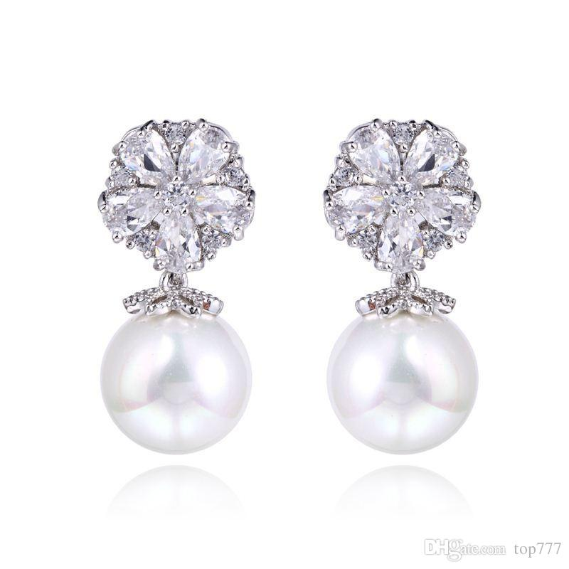 865339cca 2019 Gorgeous Design Pear Cluster Flower Shape Hang Shell Pearl Top Quality  Cubic Zirconia Diamond Bridal Dangle Earring From Top777, $11.52 |  DHgate.Com