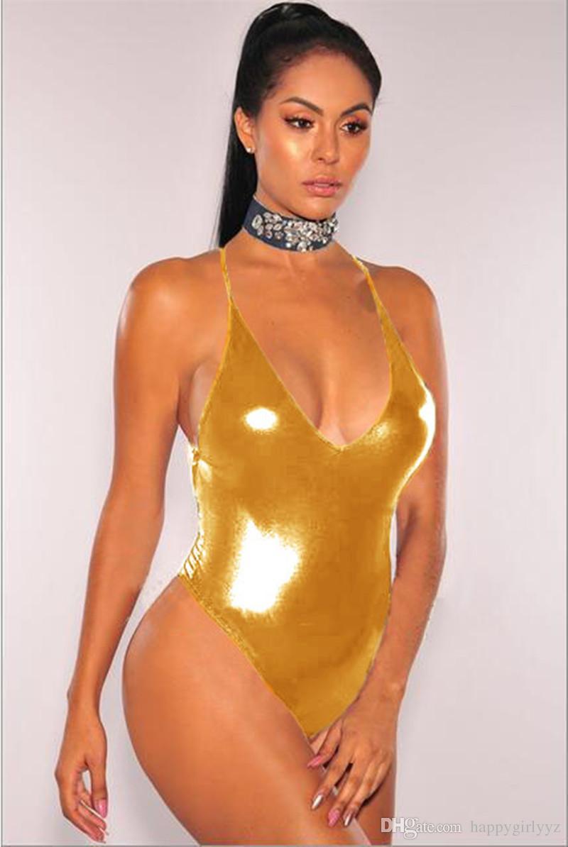49e5258bc37 Compre Moda Sexy Bronzing Ouro Biquíni De Prata Macacões One Pieces  Swimsuit Plus Size Mulheres Nova Europa Swimwear Biquini Maiô De  Happygirlyyz, ...