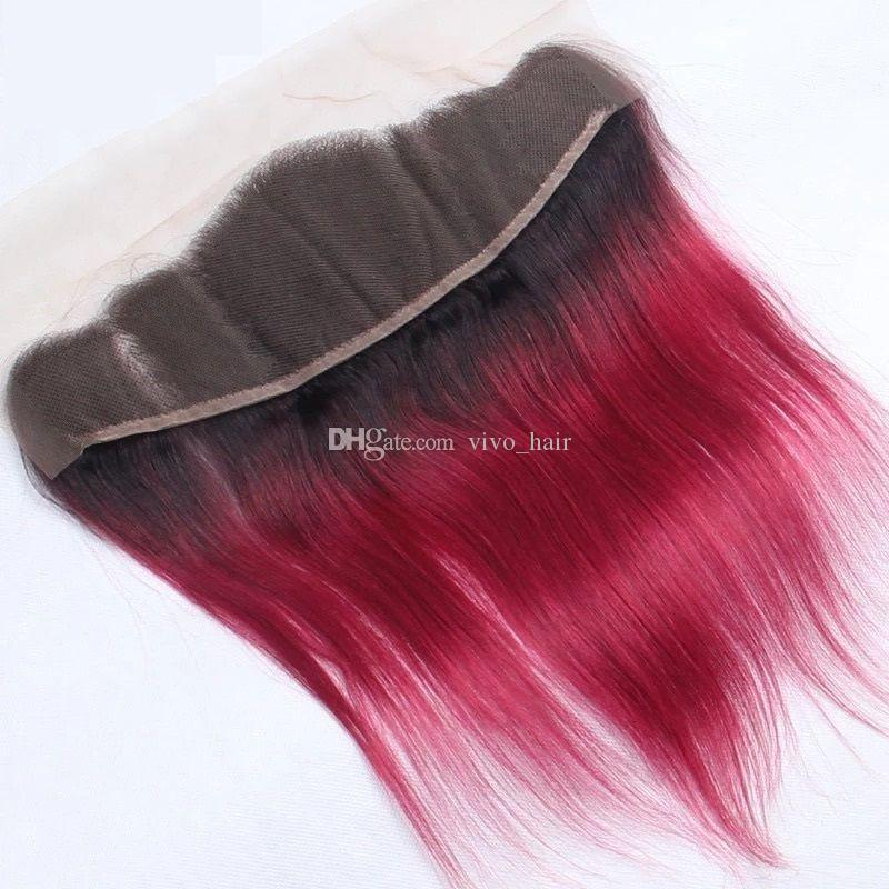 Dark Roots Red Ombre Straight Hair Bundles With Lace Frontal Closure 2 Tone 1B Red Ombre Malaysian Human Hair Weaves With Lace Frontal
