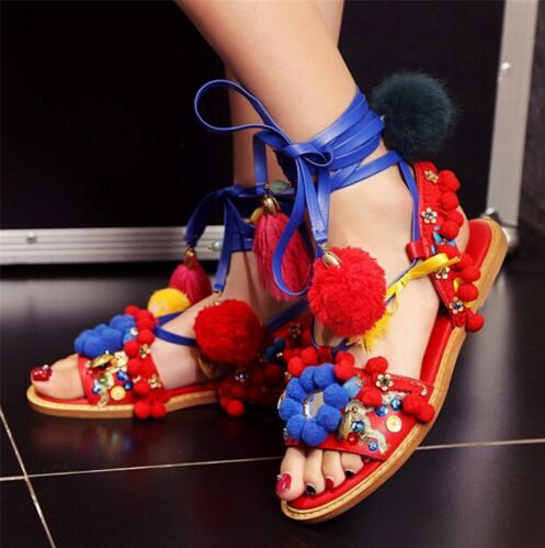 Bohe Ethnic Style Runway Shoes Woman Ankle Tie Flat Sandals Colorful Ball Beading Fringe Gladiator Sandals Women Shoes Sandalias