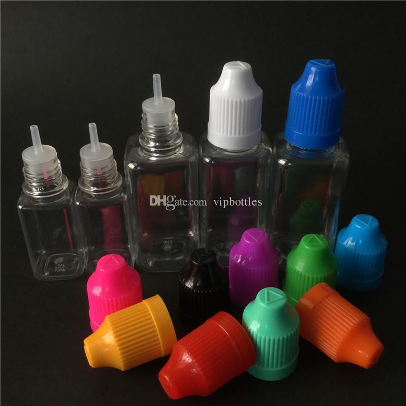 ejuice пустой квадратный ПЭТ бутылка 10 мл 30 мл прозрачный ясно бутылка ребенка доказательство капельницы бутылка бесплатная доставка