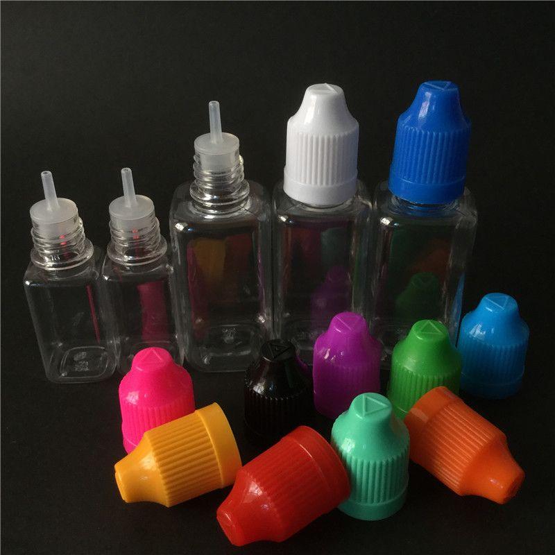 Ejuice quadrado vazio pet garrafa 10 ml 30 ml transparente garrafa transparente à prova de criança conta-gotas garrafa frete grátis