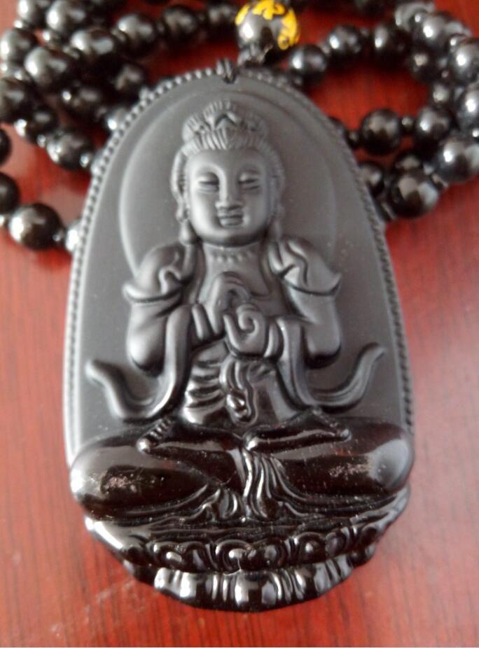 Buda Pingente Natural obsidiana Vintage Colar de Pingente de Cabeça de Buda Preto Para as mulheres Jade Jóias