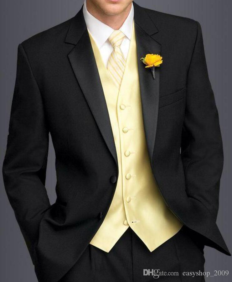 New Arrival black tuxedos for men Wedding Suits For Men groomsmen suits slim fit yellow vest+jacket+pants
