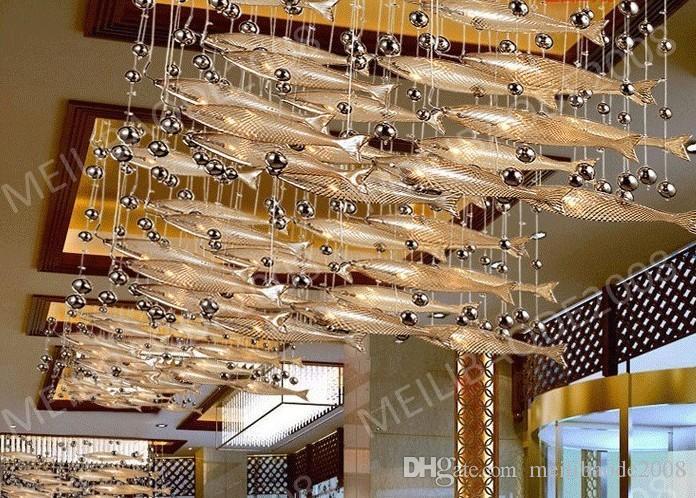BE33 Moderno LED de vidrio Coñac Color Flying Fish Candelabros Bar en el comedor Luces colgantes Lámparas de techo de cristal para sala de estar Vestíbulo del hotel
