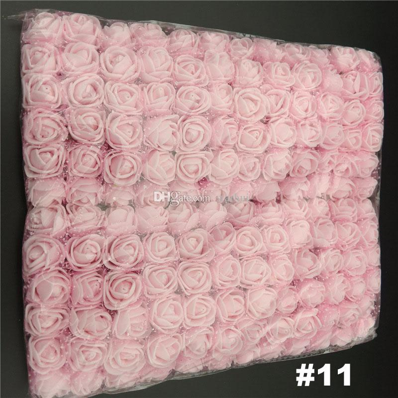 144 pz / lotto fiori artificiali mini schiuma rosa bouquet di fiori da giardino decorazione della festa nuziale simulazione fiore testa regalo di natale WX9-71