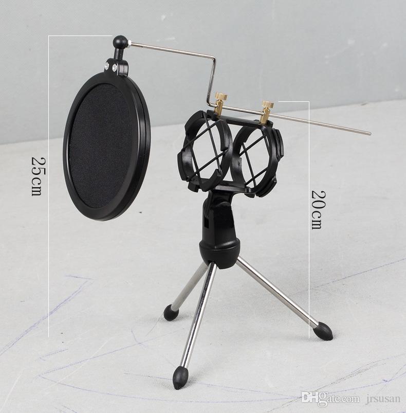 Qualidade superior Ajustável Studio Microfone Condensador Stand Microfone Titular Desktop Tripé para Microfone com Windscreen Filter Cover