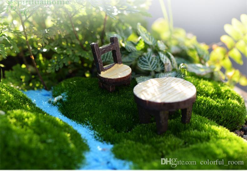 New cute Mini Table chair =Fairy Garden Miniatures Crafts Terrarium Gnomes Statue Dollhouse For Diy Home Decoration Accessories
