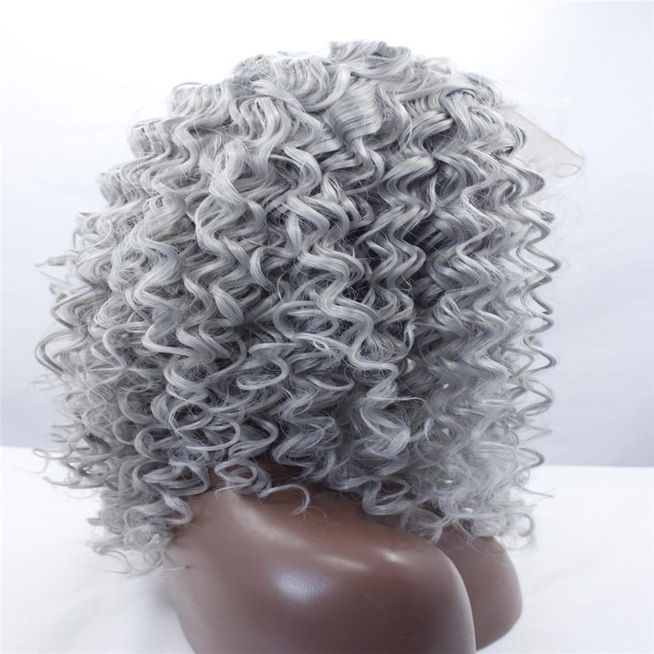 Nuove donne lunghe Ombre Black Grey Mix Parrucca anteriore in pizzo Resistente al calore Capelli Parrucche ondulate Parrucca sintetica frontale in pizzo Colore misto Lunghezza dei capelli Capelli