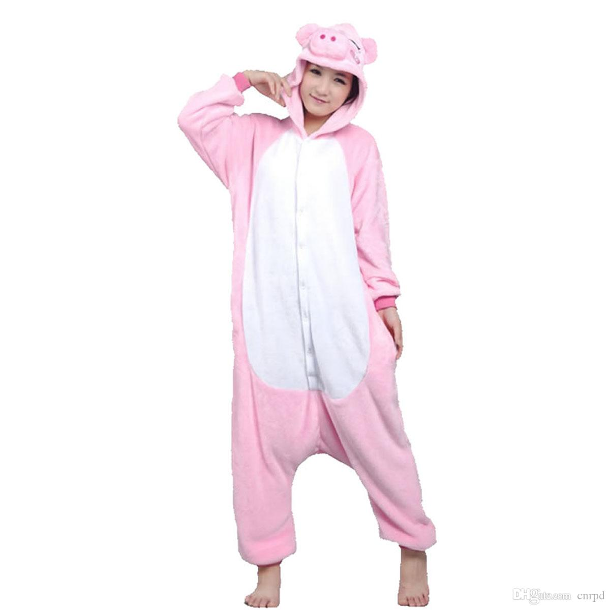 ba8e19e57 Lovers Pig Unisex Adults Flannel Hooded Onesies Pajamas Cosplay Cartoon  Animal Sleepwear For Women Men Women Halloween Costumes Cosplay Anime From  Cnrpd, ...