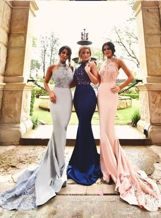 2016 새로운 디자인 인어 레이스 신부 들러리 드레스 우아한 긴 Appliuqed 새틴 신부 들러리 드레스 정식 이브닝 가운 댄스 파티 드레스